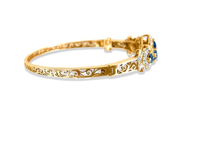 Heart Cut Vintage 2.00 Carat Blue Sapphire Diamond Bracelet
