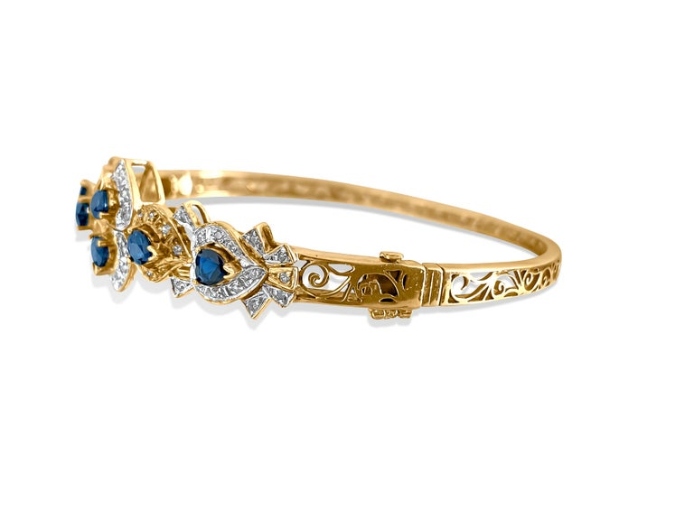Vintage 2.00 Carat Blue Sapphire Diamond Bracelet In Excellent Condition In Miami, FL