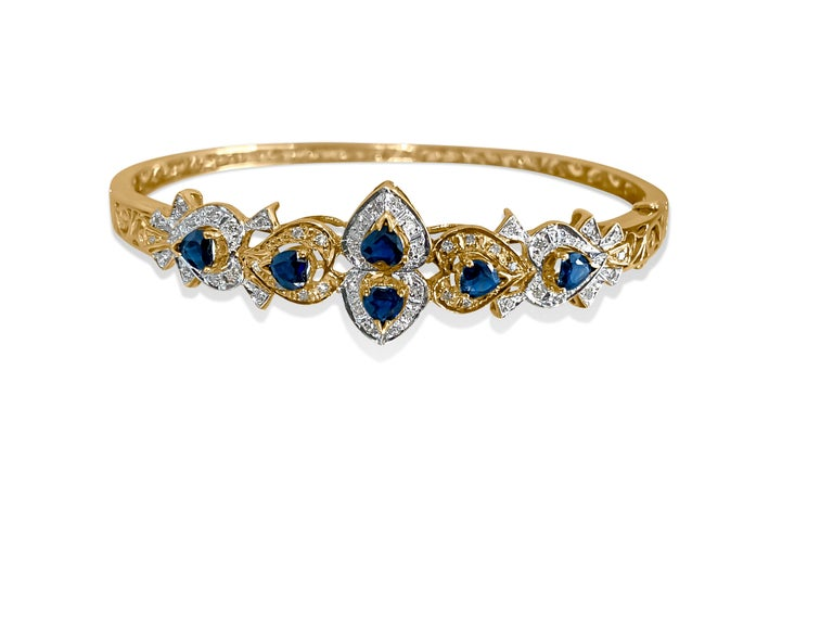 Women's Vintage 2.00 Carat Blue Sapphire Diamond Bracelet
