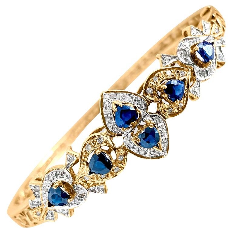Vintage 2.00 Carat Blue Sapphire Diamond Bracelet