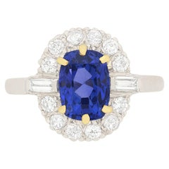 Vintage 2.00 Carat Sapphire and Diamond Engagement Ring, circa 1940s