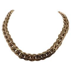 Vintage 2000 14 Karat Yellow Gold Italian Wide Link Necklace