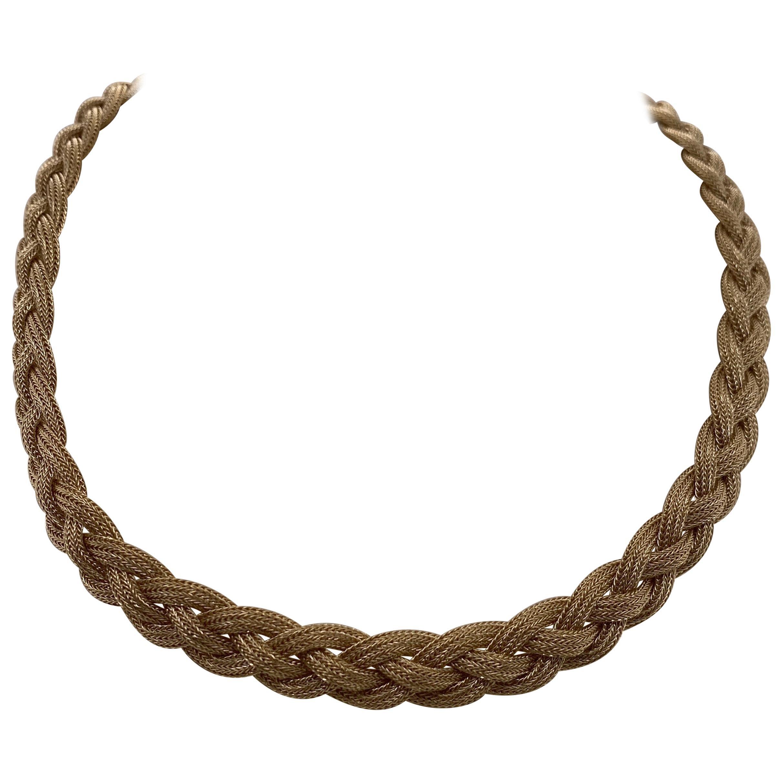 Vintage 2000s 14 Karat Yellow Gold Italian Braided Necklace