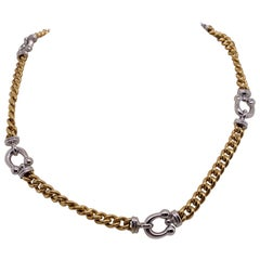 Vintage 2000s 18 Karat Two-Tone Gold Cable and Horseshoe Link Necklace