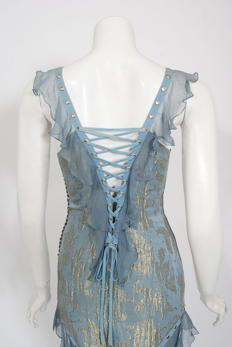 Vintage 2003 Christian Dior by Galliano Metallic Blue Silk Lace-Up Bias Cut Gown For Sale 5