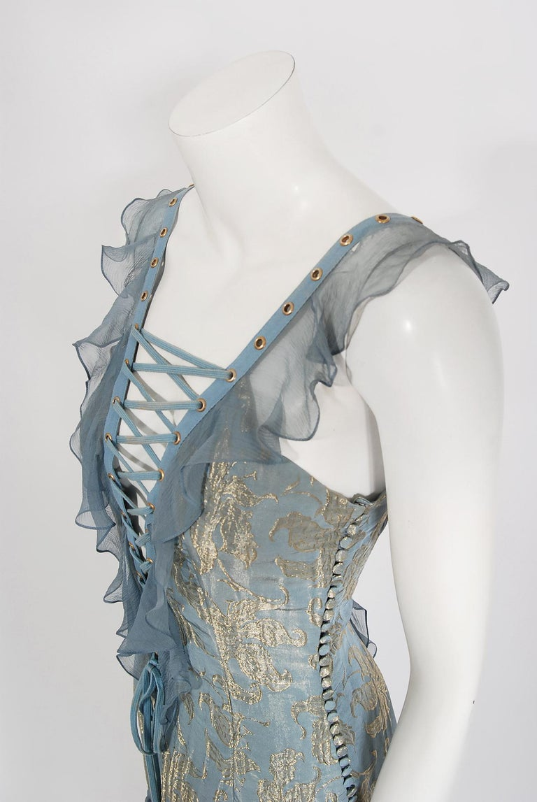 Vintage 2003 Christian Dior by Galliano Metallic Blue Silk Lace-Up Bias Cut Gown In Good Condition For Sale In Beverly Hills, CA