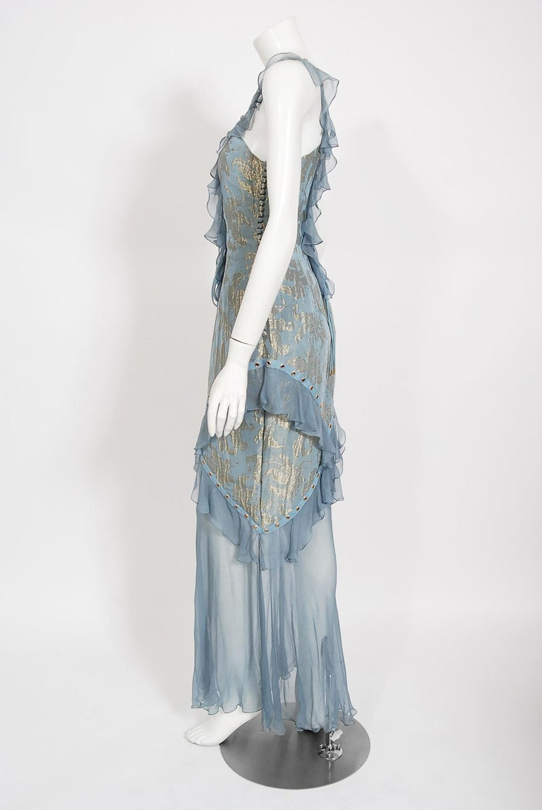 Women's Vintage 2003 Christian Dior by Galliano Metallic Blue Silk Lace-Up Bias Cut Gown For Sale