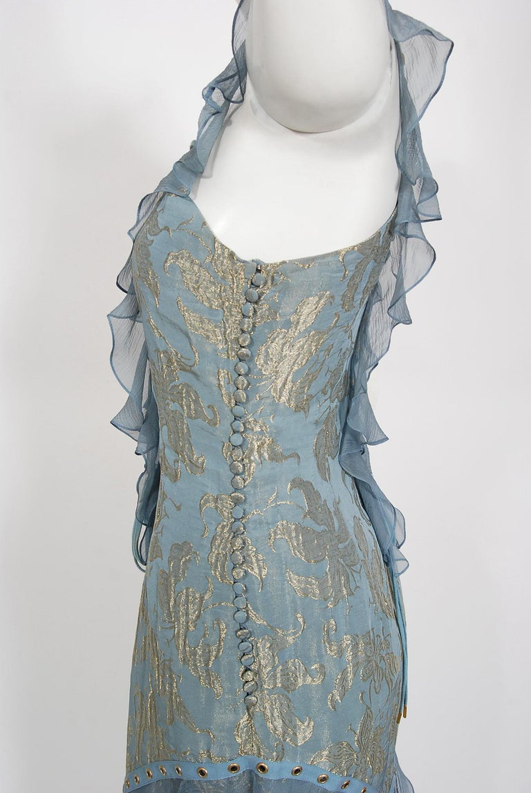 Vintage 2003 Christian Dior by Galliano Metallic Blue Silk Lace-Up Bias Cut Gown For Sale 1