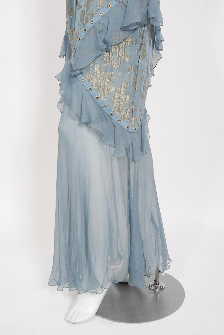 Vintage 2003 Christian Dior by Galliano Metallic Blue Silk Lace-Up Bias Cut Gown For Sale 2