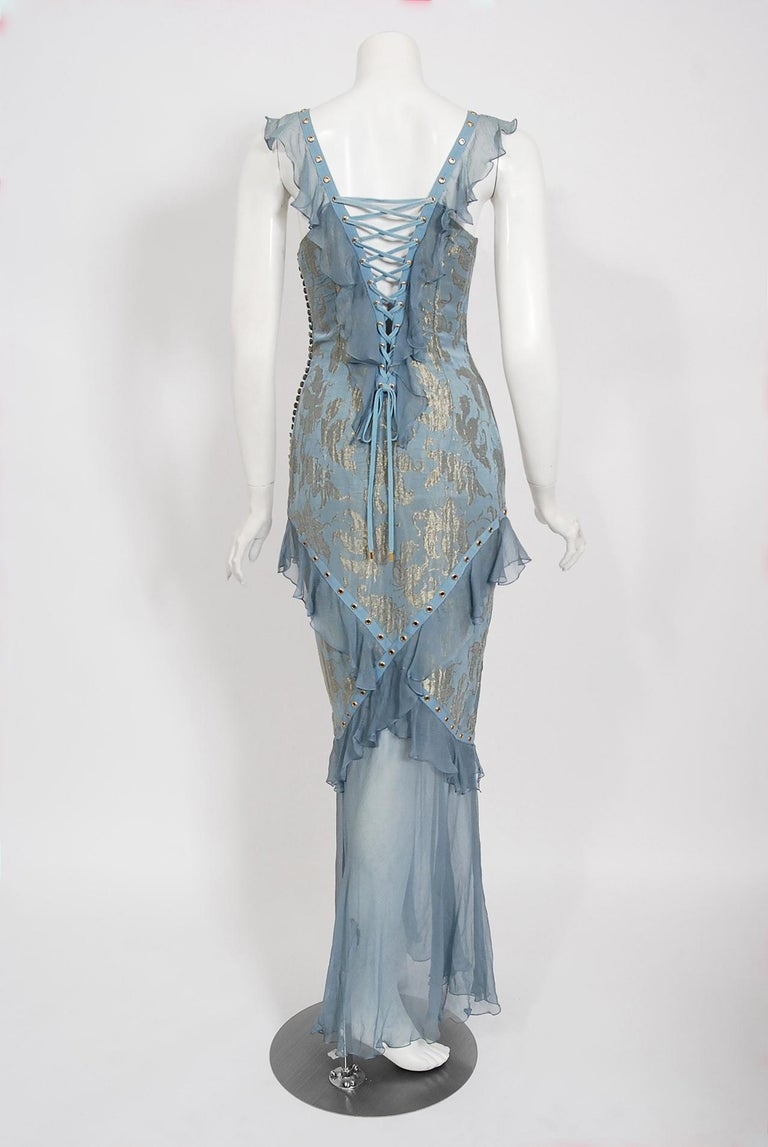 Vintage 2003 Christian Dior by Galliano Metallic Blue Silk Lace-Up Bias Cut Gown For Sale 4
