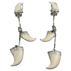 Vintage 2003 CHRISTIAN DIOR CLAW White Enamel Dangling Earrings by Galliano