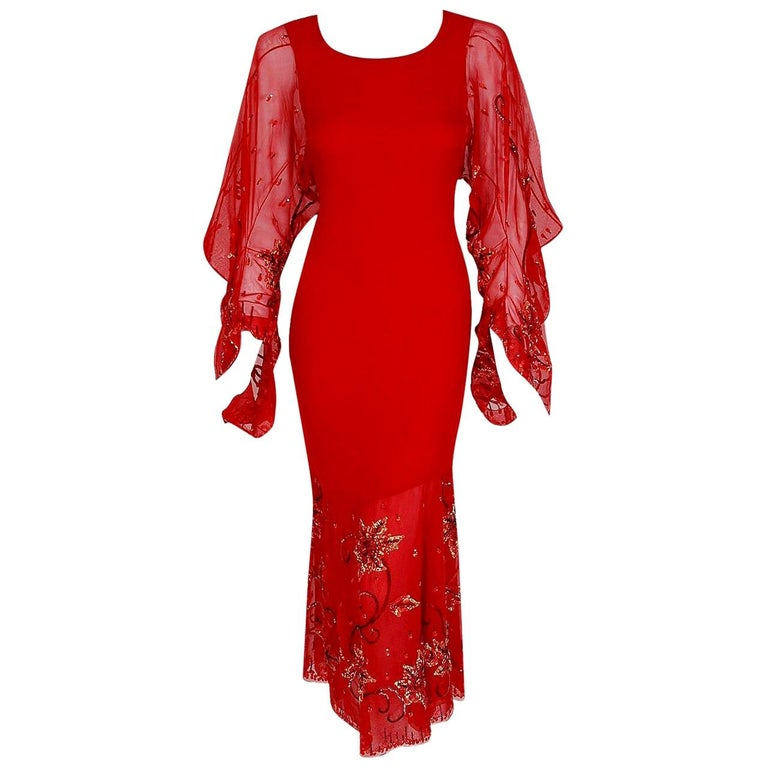 Vintage 2003 Christian Dior Haute-Couture Red Beaded Silk Kimono Sleeve Dress For Sale