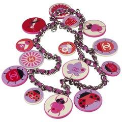 Vintage 2004 CHANEL Novelty Bugs Flowers Logo Charm Necklace Belt