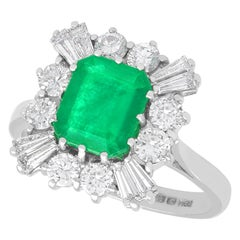 Vintage 2.05Ct Emerald Cut Emerald and 1.23Ct Diamond White Gold Cluster Ring