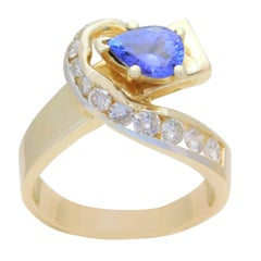 Vintage 2.05 Carat Pear-Cut Tanzanite and Diamond Cocktail Ring