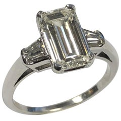 Vintage 2.07 Carat Emerald Cut Step Cut Diamond and Platinum Ring