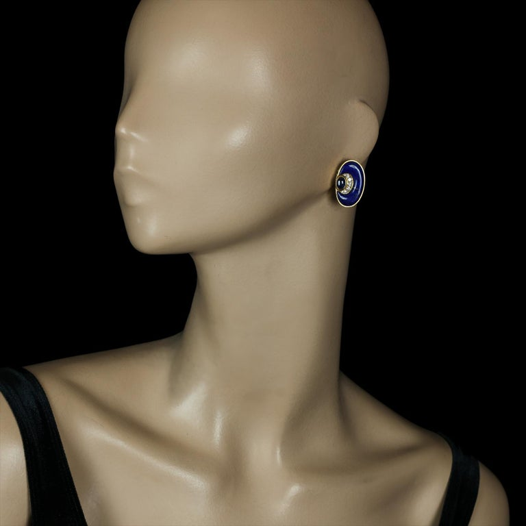 Modernist  Bulgari Vintage 20ct Gold Lapis Lazuli, Diamond and Sapphire Earrings c.1970s For Sale