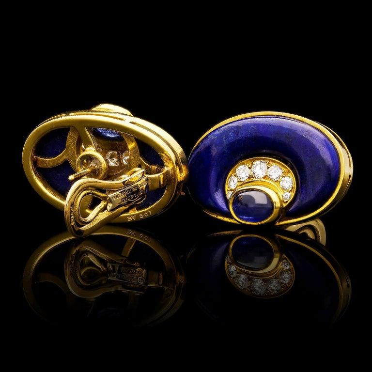 Bulgari Vintage 20ct Gold Lapis Lazuli, Diamond and Sapphire Earrings c.1970s In Excellent Condition For Sale In London, GB