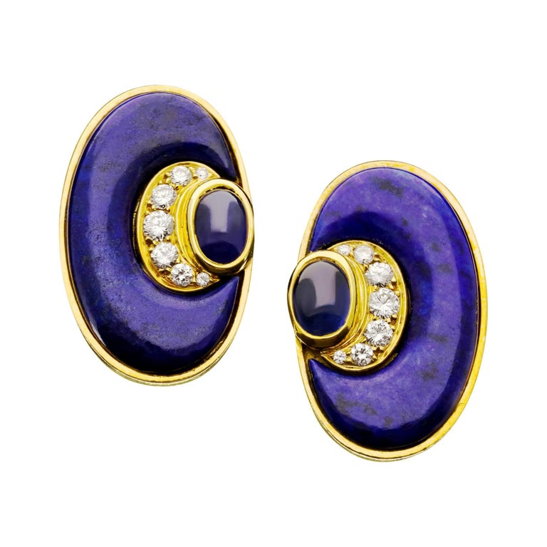 Bulgari Vintage 20ct Gold Lapis Lazuli, Diamond and Sapphire Earrings c.1970s For Sale