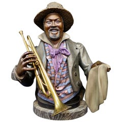 Vintage 20th Century Cold Painted Bronze American Black Jazz Musician