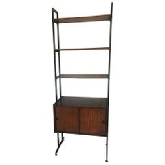 Vintage 20th Century French Modular Metal and Wood Shelf, 1970s