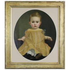 Vintage 20th Century Portrait of a Child Oil Painting Formal Baby Girl Oval