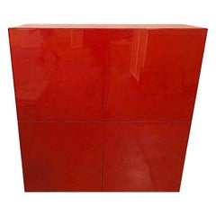 Vintage 20th Century Red Lacquer Bar/Cabinet, Piero Lissoni