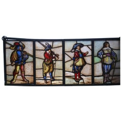 Vintage 20th Century Stained-Glass Window of the 4 Musketeers