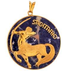 Vintage 21 Karat Yellow Gold and Sodalite Sagittarius Zodiac Astrology Pendant