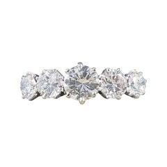 Vintage 2.15 Carat Five-Stone Diamond Ring Large in Size in 18 Carat Gold