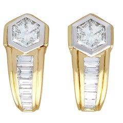Vintage 2.17 Carat Diamond and Yellow Gold Earrings, Circa 1950