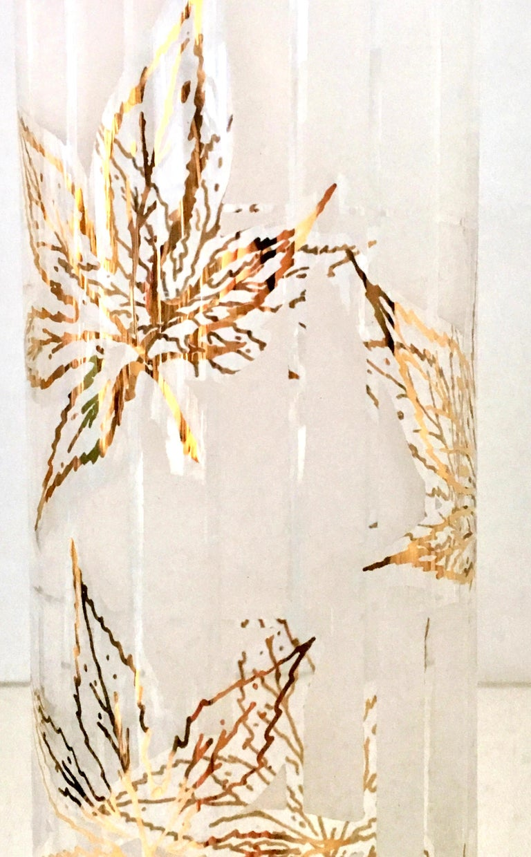 American Vintage 22-Karat Frosted Leaf Motif Glass Drinks Set of Six Pieces For Sale