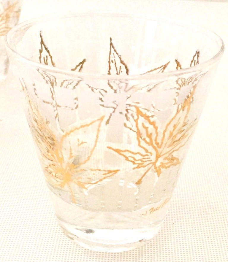Gold Vintage 22-Karat Frosted Leaf Motif Glass Drinks Set of Six Pieces For Sale