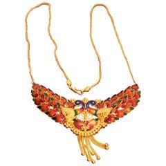Vintage 22 Karat Gold Handmade Enamel Peacock Earrings