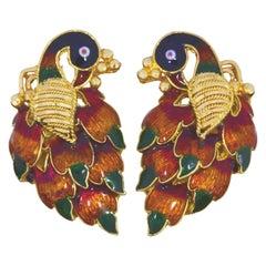 Vintage 22 Karat Gold Indian Made Enamel Peacock Earrings