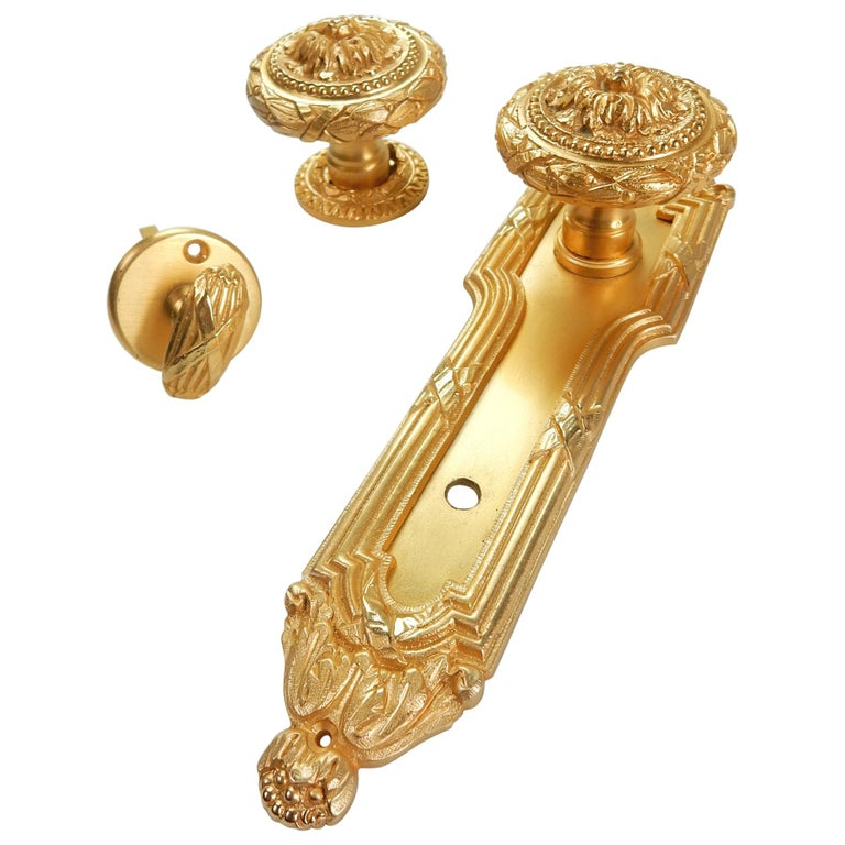 Vintage 22-Karat Plated Door Knob, Bolt & Escutcheon from Sherle Wagner, 1960s For Sale