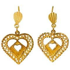 Vintage 22 Karat Yellow Gold Arabian Heart Earrings
