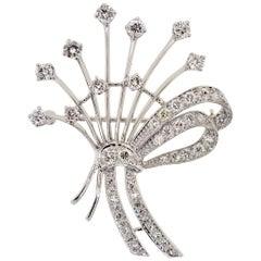 Vintage 2.20 Carat Diamond and Platinum Brooch
