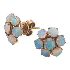Vintage 2.25 Carat Natural Opal Cluster Earrings Set in 14 Karat Yellow Gold