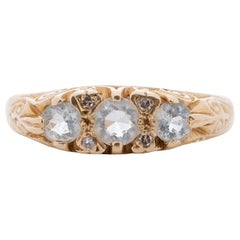 Vintage 14K Yellow Gold Three Stone Ring with Aquamarine Gems and Filigree Eng.