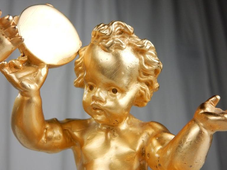 Baroque Revival Vintage 22-Karat Gold Cherub Vanity Facet Handles from Sherle Wagner For Sale