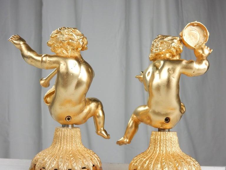 Vintage 22-Karat Gold Cherub Vanity Facet Handles from Sherle Wagner In Good Condition For Sale In Las Vegas, NV