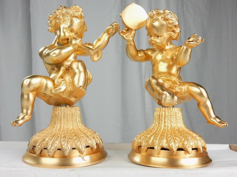 Vintage 22-Karat Gold Cherub Vanity Facet Handles from Sherle Wagner For Sale 1