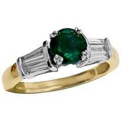Vintage 2.30 Carat Diamond and Emerald Ring in 14 Karat Yellow Gold