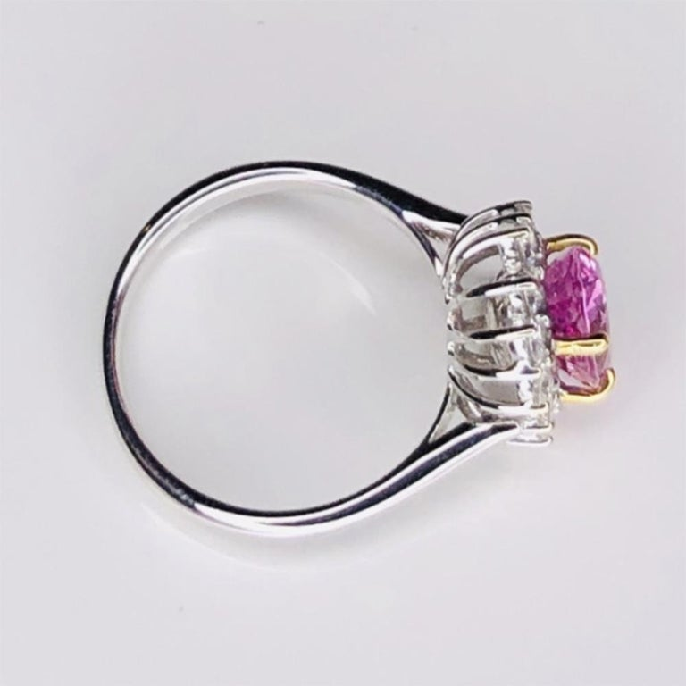 Modernist Vintage 2.32ct Pink Sapphire and Diamond Gold Cocktail Ring Estate Fine Jewelry For Sale