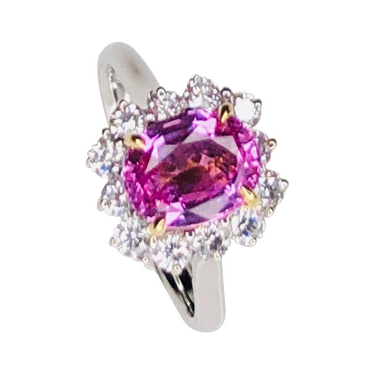 Vintage 2.32ct Pink Sapphire and Diamond Gold Cocktail Ring Estate Fine Jewelry For Sale