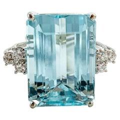Vintage 24 Carat Aquamarine Ring