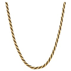 """Vintage 24"""" Gilt & Black Cord Twisted Chain Necklace by Trifari, 1970s"""