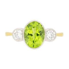 Vintage 2.40 Carat Peridot Engagement Ring, circa 1960s