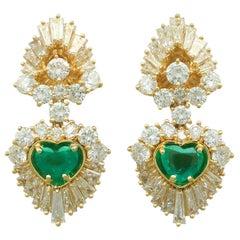 Vintage 2.48 Carat Emerald and 7.05 Carat Diamond Yellow Gold Earrings